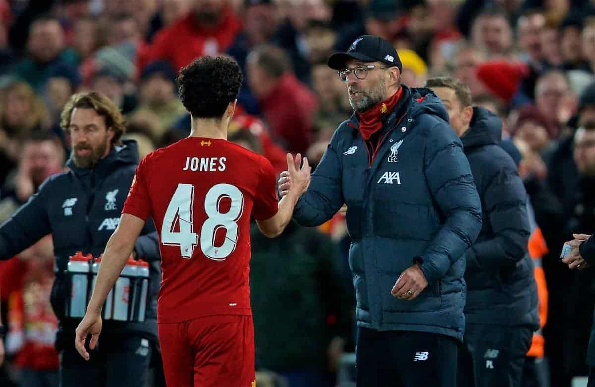 LIVERPOOL, ENGLAND - Sunday, January 5, 2020: Liverpool's Curtis Jones (L) shakes hands with manager Jürgen Klopp as he celebrates scoring the first goal during the FA Cup 3rd Round match between Liverpool FC and Everton FC, the 235th Merseyside Derby, at Anfield. (Pic by David Rawcliffe/Propaganda)