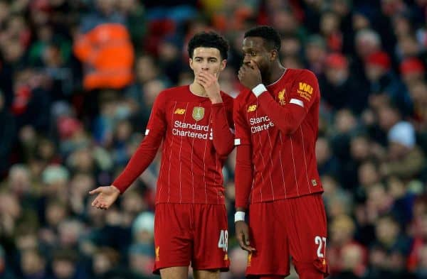 LIVERPOOL, ENGLAND - Sunday, January 5, 2020: Liverpool's Curtis Jones (L) and Divock Origi during the FA Cup 3rd Round match between Liverpool FC and Everton FC, the 235th Merseyside Derby, at Anfield. (Pic by David Rawcliffe/Propaganda)