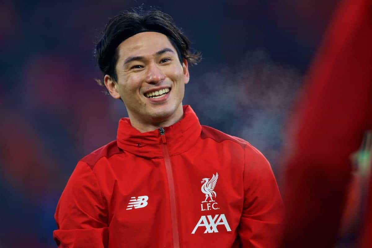 LIVERPOOL, ENGLAND - Sunday, January 19, 2020: Liverpool's Takumi Minamino during the pre-match warm-up before the FA Premier League match between Liverpool FC and Manchester United FC at Anfield. (Pic by David Rawcliffe/Propaganda)