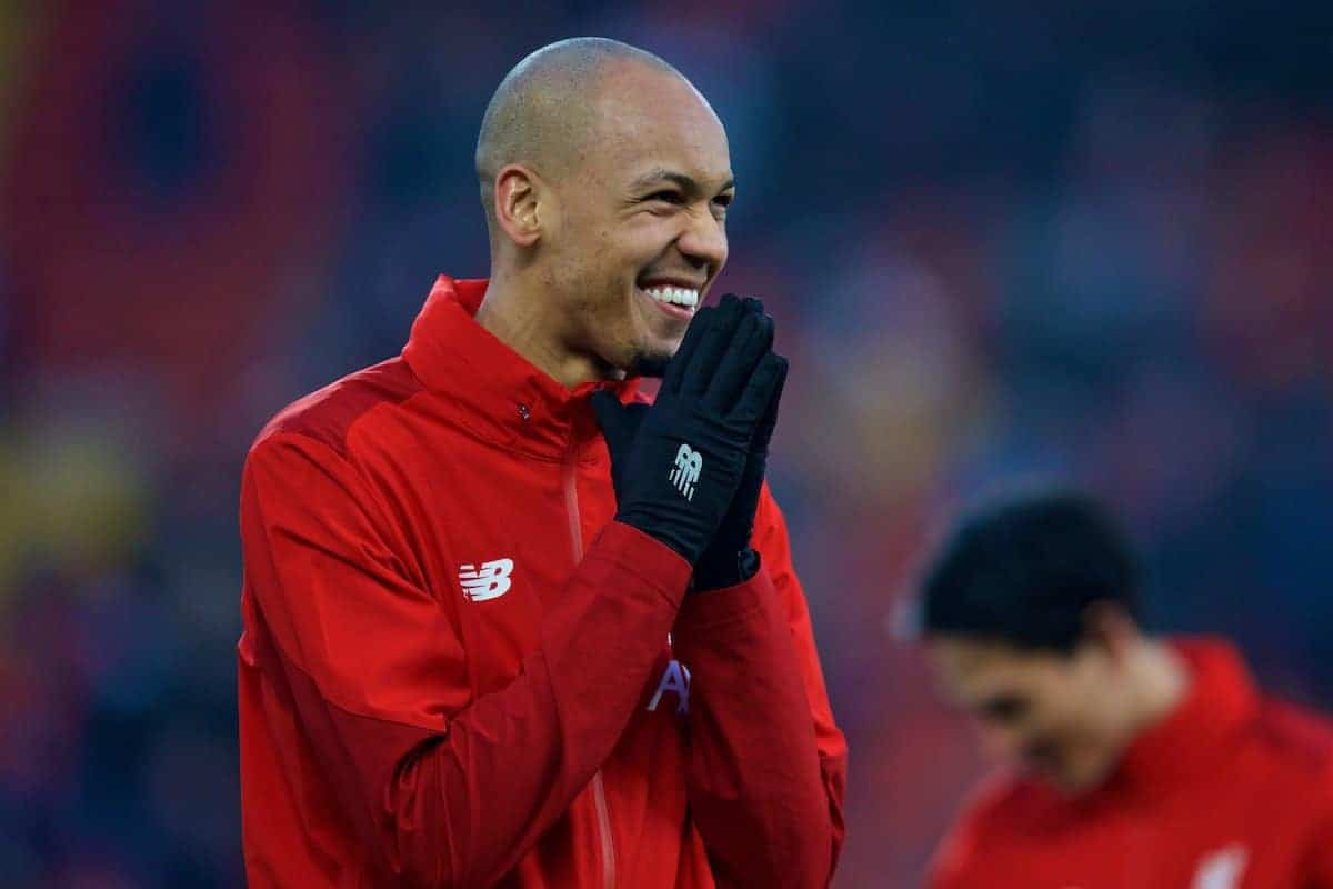 LIVERPOOL, ENGLAND - Sunday, January 19, 2020: Liverpool's Fabio Henrique Tavares 'Fabinho' during the pre-match warm-up before the FA Premier League match between Liverpool FC and Manchester United FC at Anfield. (Pic by David Rawcliffe/Propaganda)