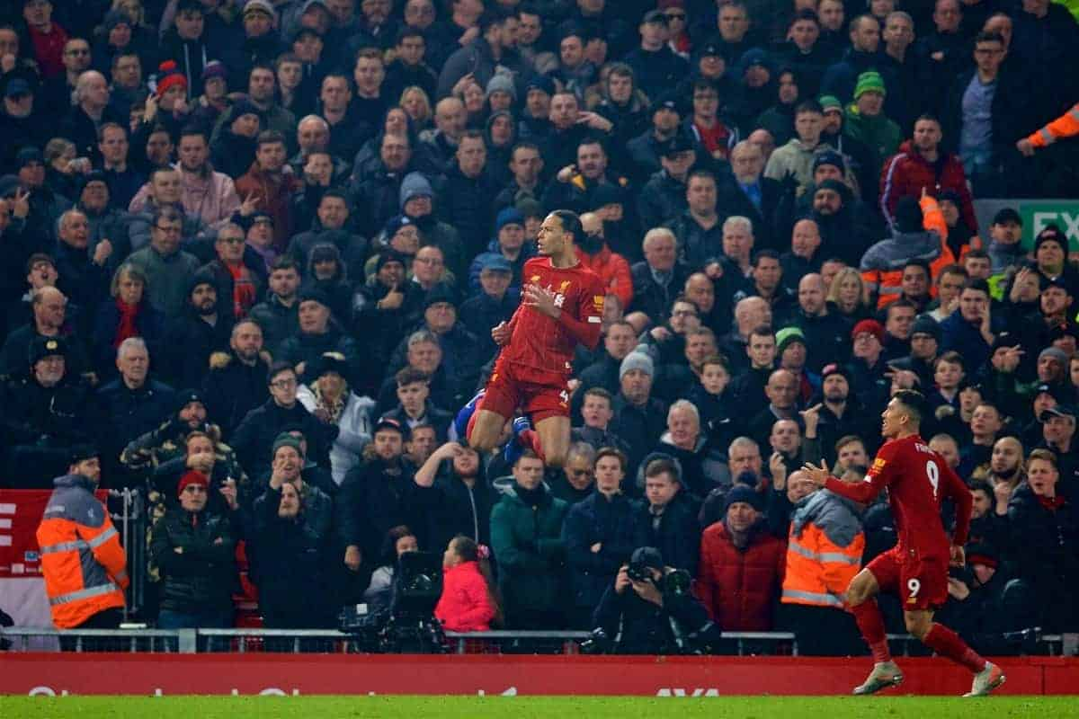 LIVERPOOL, ENGLAND - Sunday, January 19, 2020: Liverpool's Virgil van Dijk celebrates scoring the first goal during the FA Premier League match between Liverpool FC and Manchester United FC at Anfield. (Pic by David Rawcliffe/Propaganda)