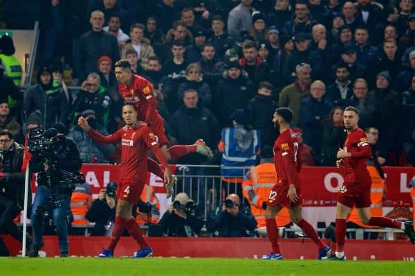 LIVERPOOL, ENGLAND - Sunday, January 19, 2020: Liverpool's Virgil van Dijk celebrates scoring the first goal with team-mate Roberto Firmino during the FA Premier League match between Liverpool FC and Manchester United FC at Anfield. (Pic by David Rawcliffe/Propaganda)