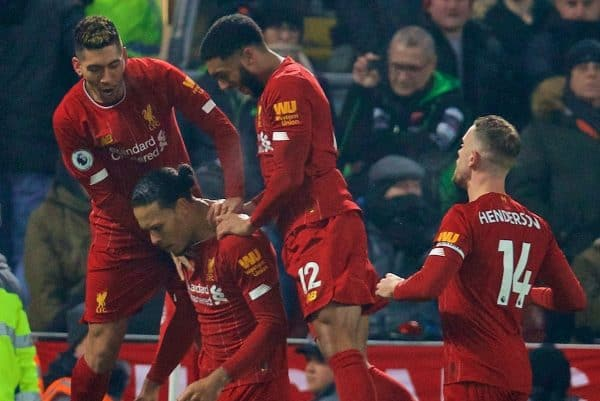 LIVERPOOL, ENGLAND - Sunday, January 19, 2020: Liverpool's Virgil van Dijk celebrates scoring the first goal with team-mates during the FA Premier League match between Liverpool FC and Manchester United FC at Anfield. (Pic by David Rawcliffe/Propaganda)