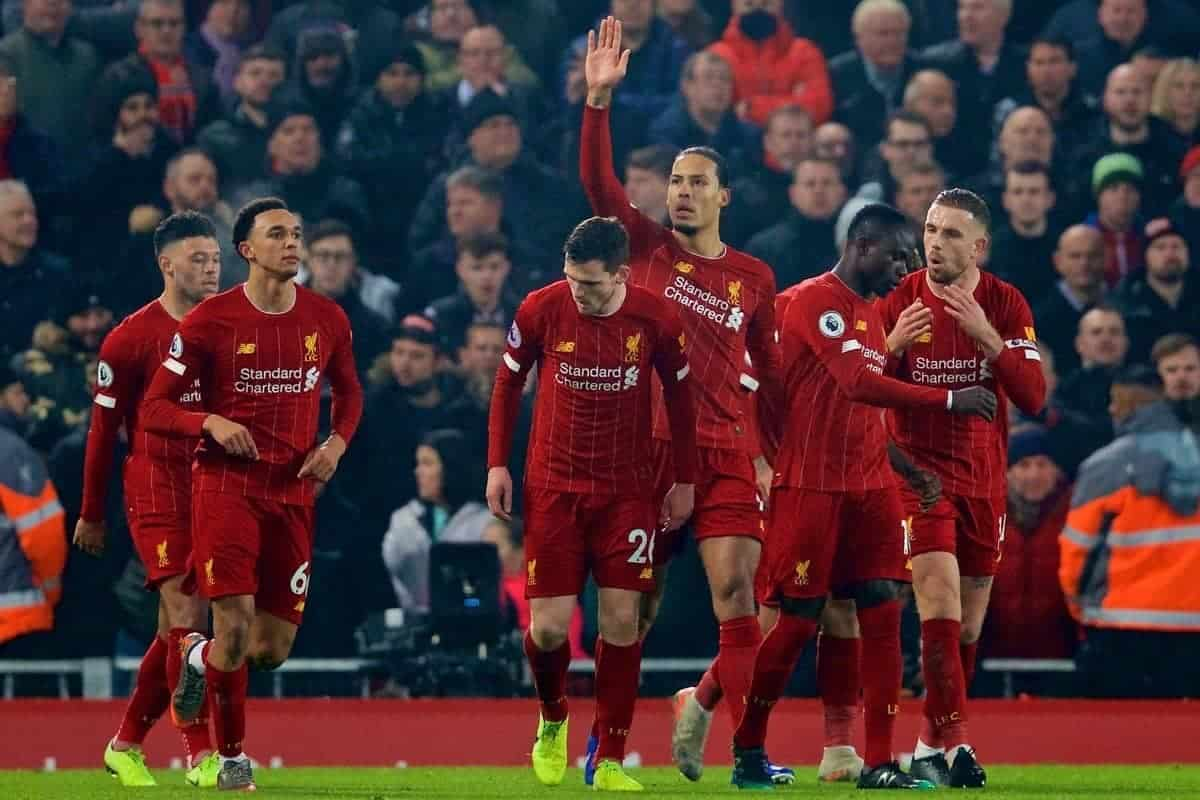 LIVERPOOL, ENGLAND - Sunday, January 19, 2020: Liverpool's xxxx during the FA Premier League match between Liverpool FC and Manchester United FC at Anfield. (Pic by David Rawcliffe/Propaganda)