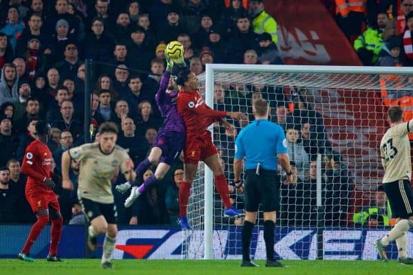 LIVERPOOL, ENGLAND - Sunday, January 19, 2020: Liverpool's Virgil van Dijk (R) challenges Manchester United's goalkeeper David de Gea during the FA Premier League match between Liverpool FC and Manchester United FC at Anfield. (Pic by David Rawcliffe/Propaganda)