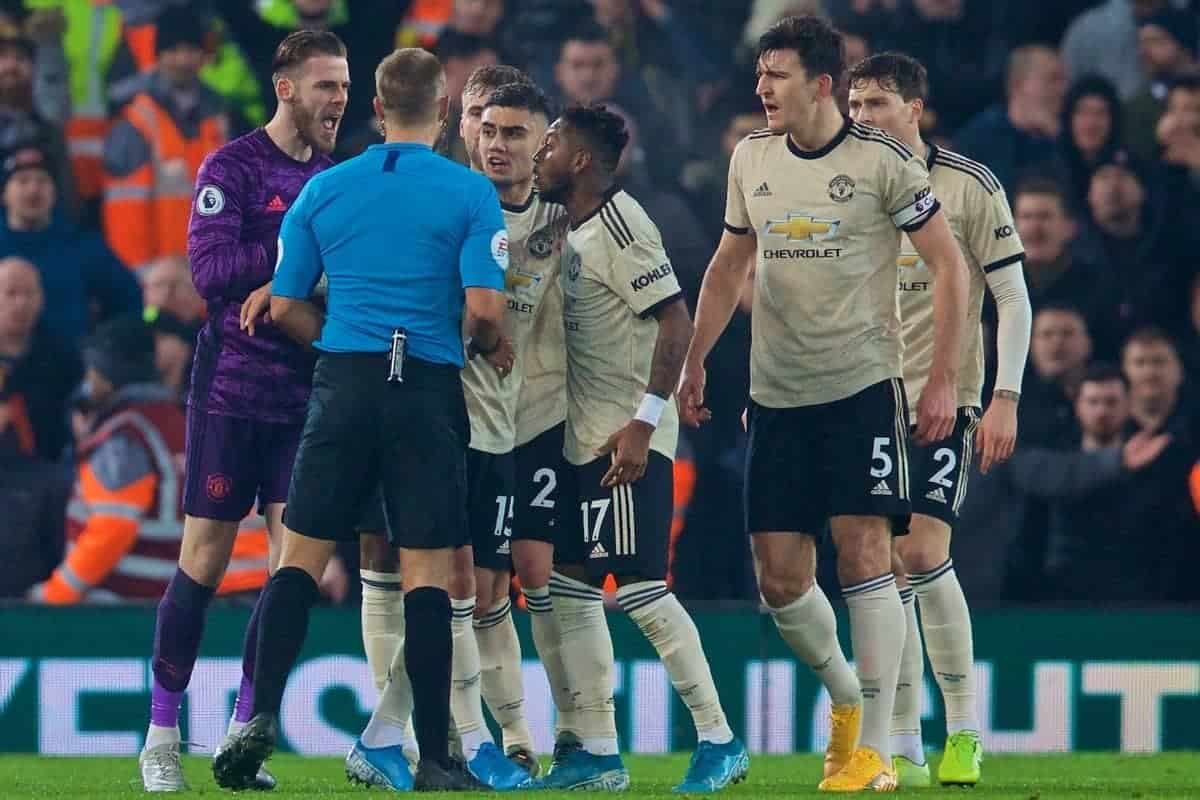 LIVERPOOL, ENGLAND - Sunday, January 19, 2020: Manchester United players argue with the referee during the FA Premier League match between Liverpool FC and Manchester United FC at Anfield. (Pic by David Rawcliffe/Propaganda)