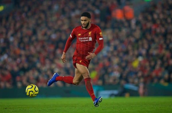 LIVERPOOL, ENGLAND - Sunday, January 19, 2020: Liverpool's Joe Gomez during the FA Premier League match between Liverpool FC and Manchester United FC at Anfield. (Pic by David Rawcliffe/Propaganda)