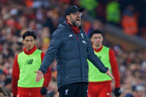 LIVERPOOL, ENGLAND - Sunday, January 19, 2020: Liverpool's manager Jürgen Klopp reacts during the FA Premier League match between Liverpool FC and Manchester United FC at Anfield. (Pic by David Rawcliffe/Propaganda)
