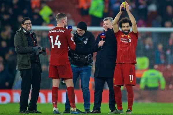 LIVERPOOL, ENGLAND - Sunday, January 19, 2020: Liverpool's Mohamed Salah (R) celebrates after the FA Premier League match between Liverpool FC and Manchester United FC at Anfield. Liverpool won 2-0. (Pic by David Rawcliffe/Propaganda)