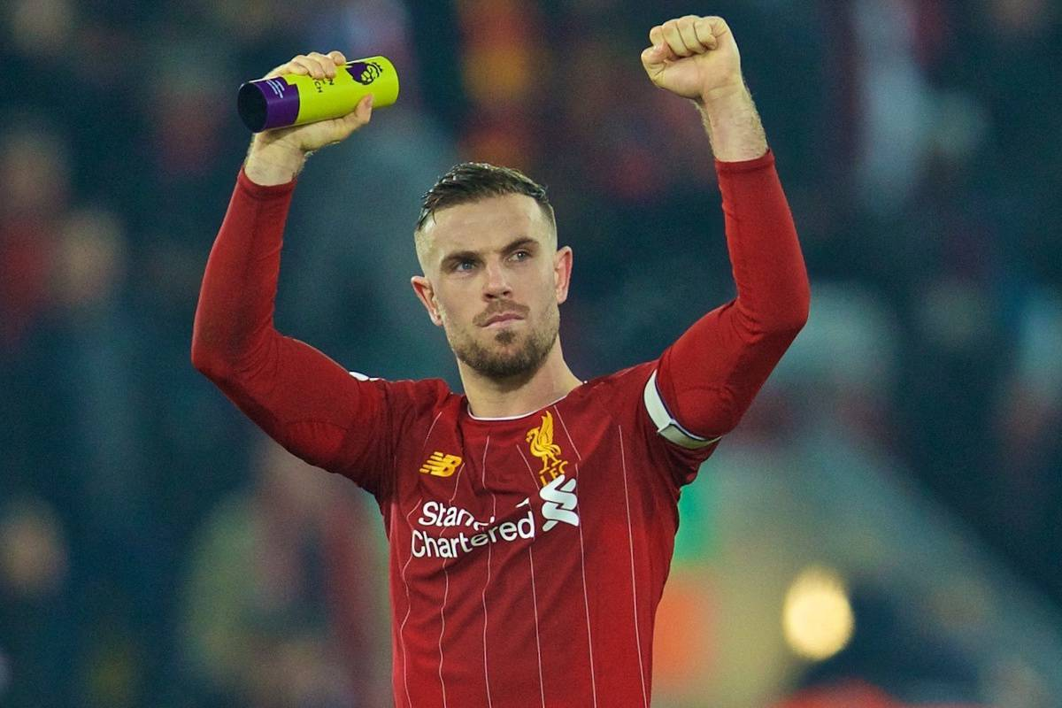 LIVERPOOL, ENGLAND - Sunday, January 19, 2020: Liverpool's captain Jordan Henderson celebrates after the FA Premier League match between Liverpool FC and Manchester United FC at Anfield.(Pic by David Rawcliffe/Propaganda)