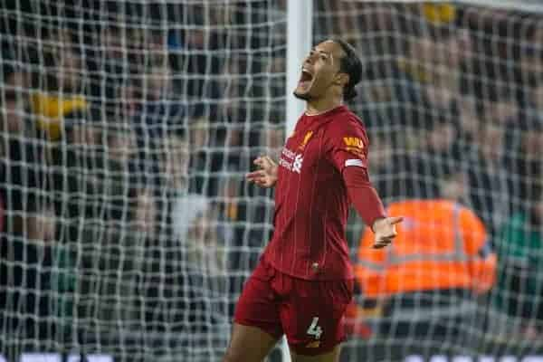 Liverpool's Virgil van Dijk celebrates his side's opening goal during the FA Premier League match between Wolverhampton Wanderers FC and Liverpool FC at Molineux Stadium. (Pic by David Rawcliffe/Propaganda)