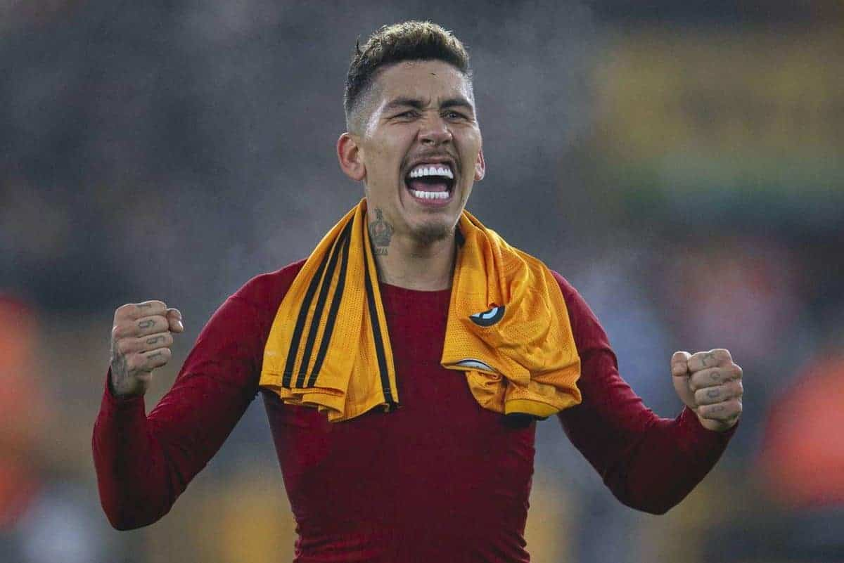 WOLVERHAMPTON, ENGLAND - Thursday, January 23, 2020: Liverpool's match-winning goal-scorer Roberto Firmino celebrates after the FA Premier League match between Wolverhampton Wanderers FC and Liverpool FC at Molineux Stadium. Liverpool wom 2-1. (Pic by David Rawcliffe/Propaganda)