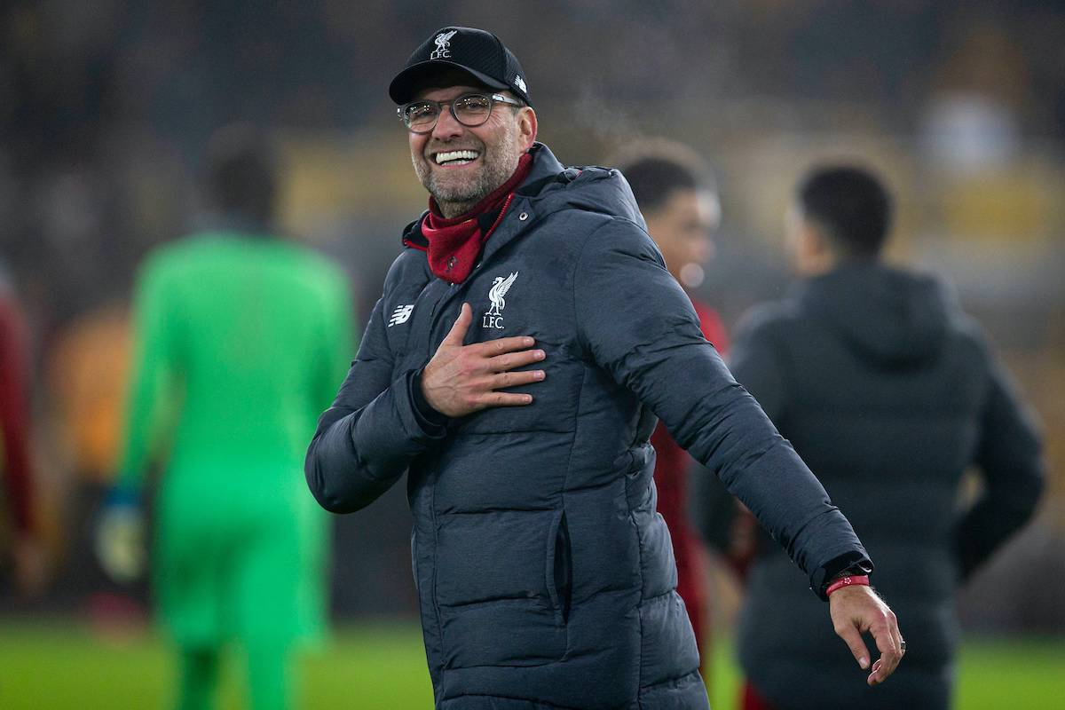 WOLVERHAMPTON, ENGLAND - Thursday, January 23, 2020: Liverpool's manager Jürgen Klopp celebrates after the FA Premier League match between Wolverhampton Wanderers FC and Liverpool FC at Molineux Stadium. Liverpool wom 2-1. (Pic by David Rawcliffe/Propaganda)