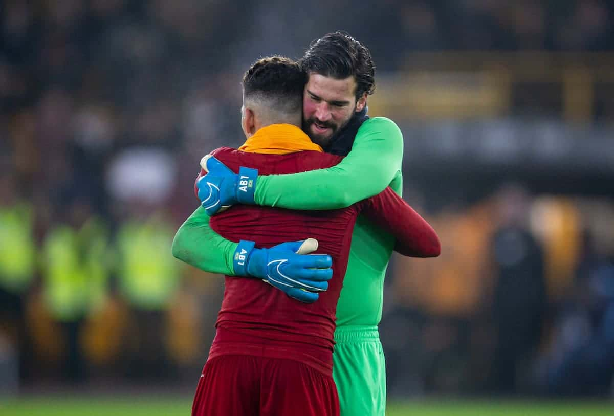 WOLVERHAMPTON, ENGLAND - Thursday, January 23, 2020: Liverpool's match-winning goal-scorer Roberto Firmino (L) celebrates with goalkeeper Alisson Becker after the FA Premier League match between Wolverhampton Wanderers FC and Liverpool FC at Molineux Stadium. Liverpool wom 2-1. (Pic by David Rawcliffe/Propaganda)