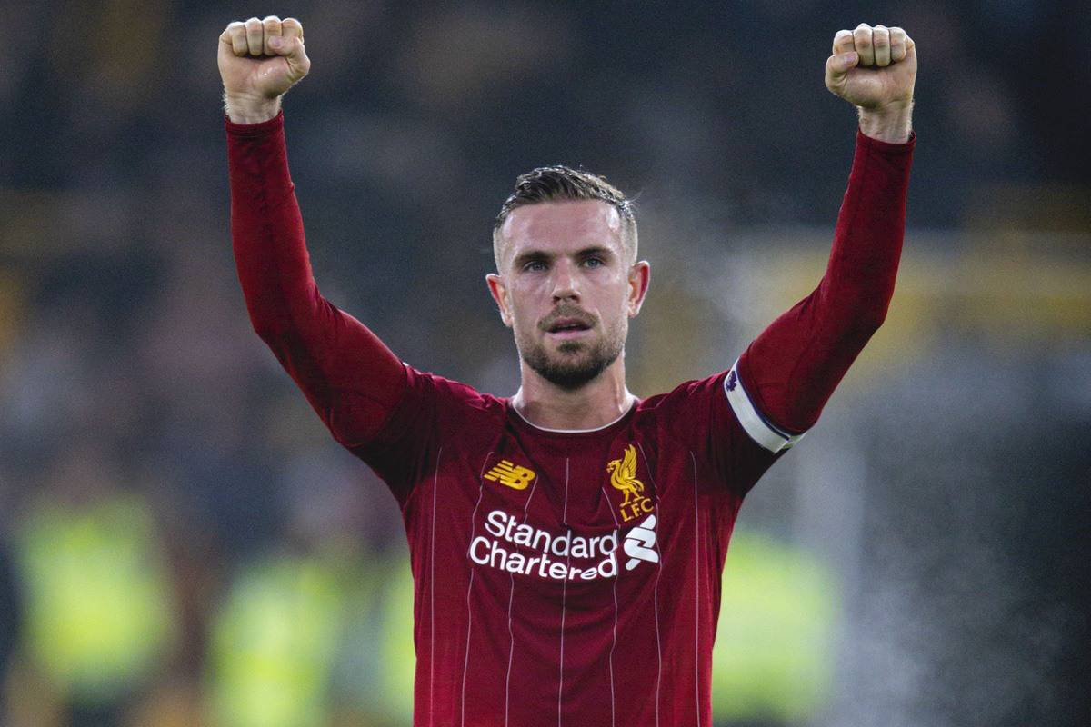 WOLVERHAMPTON, ENGLAND - Thursday, January 23, 2020: Liverpool's captain Jordan Henderson celebrates after the FA Premier League match between Wolverhampton Wanderers FC and Liverpool FC at Molineux Stadium. Liverpool wom 2-1. (Pic by David Rawcliffe/Propaganda)