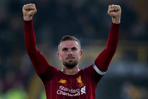 Liverpool's captain Jordan Henderson celebrates after the FA Premier League match between Wolverhampton Wanderers FC and Liverpool FC at Molineux Stadium. Liverpool wom 2-1. (Pic by David Rawcliffe/Propaganda)