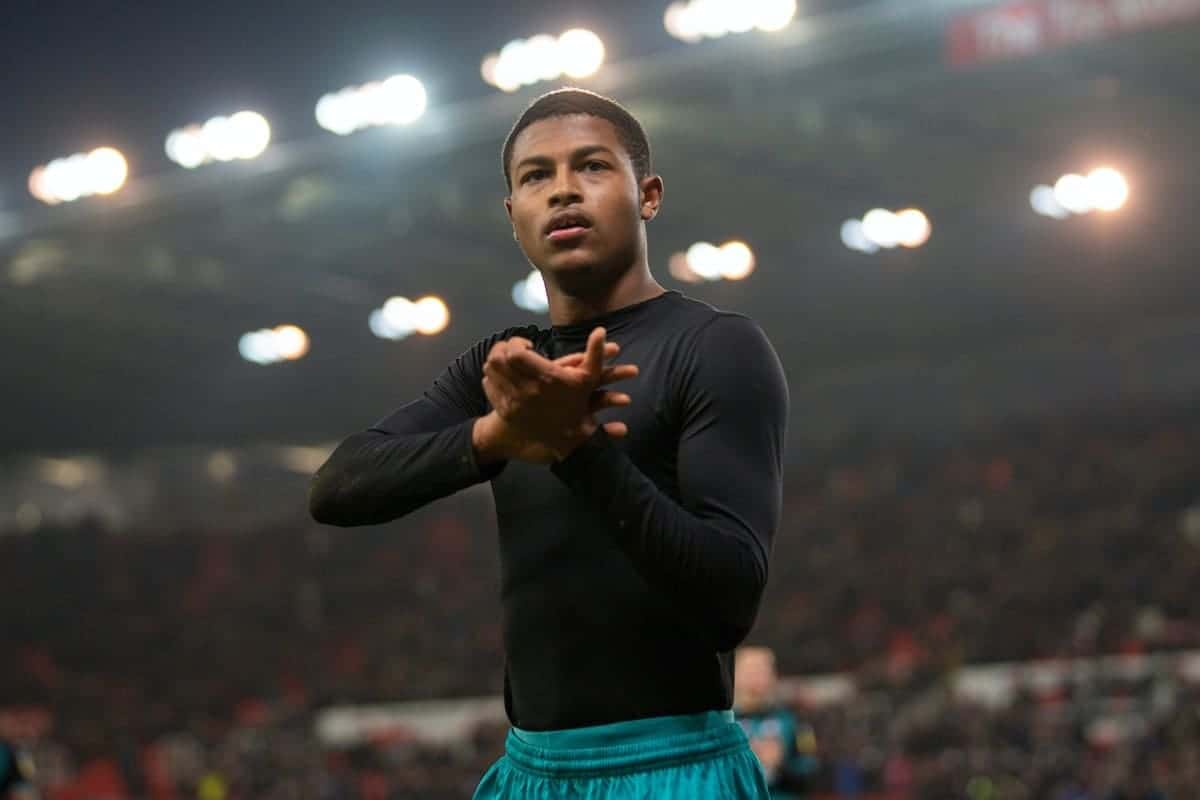 STOKE-ON-TRENT, ENGLAND - Saturday, January 25, 2020: Swansea City's Rhian Brewster applauds the supporters after the Football League Championship match between Stoke City FC and Swansea City FC at the Britannia Stadium. Swansea City lost 1-0. (Pic by David Rawcliffe/Propaganda)