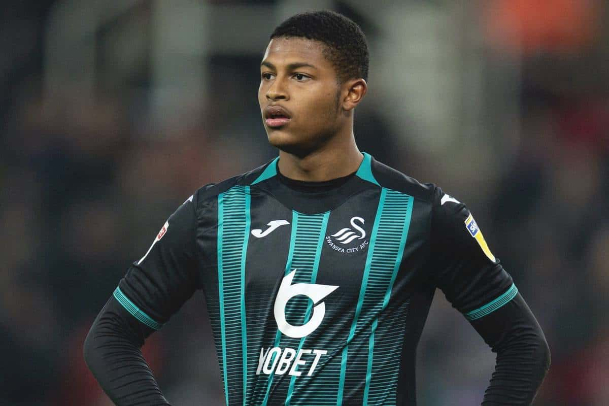 STOKE-ON-TRENT, ENGLAND - Saturday, January 25, 2020: Rhian Brewster during the Football League Championship match between Stoke City FC and Swansea City FC at the Britannia Stadium. (Pic by David Rawcliffe/Propaganda)