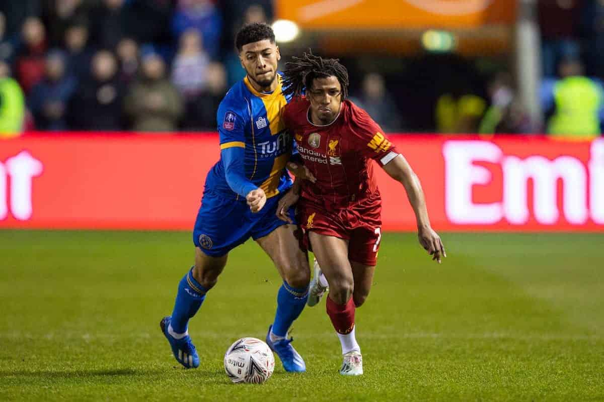 SHREWSBURY, ENGLAND - Sunday, January 26, 2020: Liverpool's Yasser Larouci (R) and Shrewsbury Town's Josh Laurent during the FA Cup 4th Round match between Shrewsbury Town FC and Liverpool FC at the New Meadow. (Pic by David Rawcliffe/Propaganda)