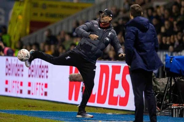 SHREWSBURY, ENGLAND - Sunday, January 26, 2020: Liverpool's manager Jürgen Klopp kicks the ball during the FA Cup 4th Round match between Shrewsbury Town FC and Liverpool FC at the New Meadow. (Pic by David Rawcliffe/Propaganda)