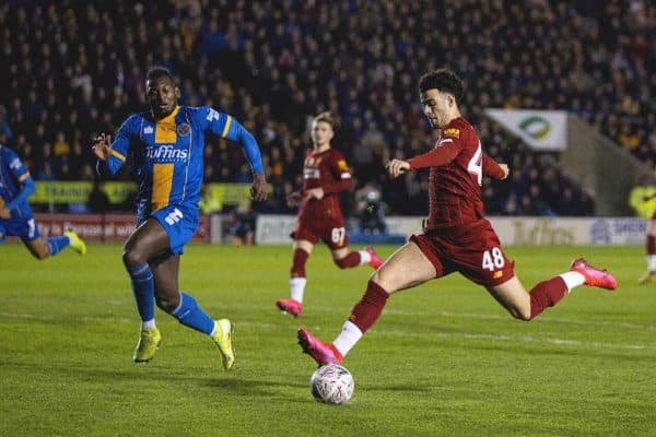 SHREWSBURY, ENGLAND - Sunday, January 26, 2020: Liverpool's Curtis Jones scores the first goal during the FA Cup 4th Round match between Shrewsbury Town FC and Liverpool FC at the New Meadow. (Pic by David Rawcliffe/Propaganda)