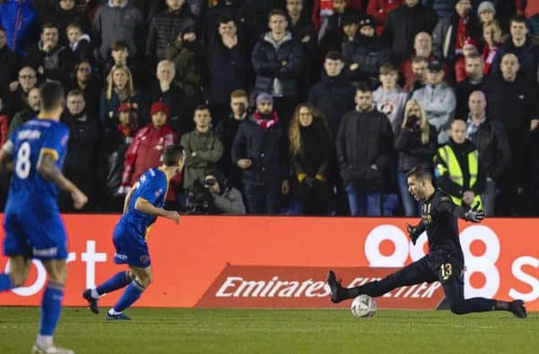 SHREWSBURY, ENGLAND - Sunday, January 26, 2020: Liverpool's goalkeeper Adrián San Miguel del Castillo makes a save during the FA Cup 4th Round match between Shrewsbury Town FC and Liverpool FC at the New Meadow. (Pic by David Rawcliffe/Propaganda)