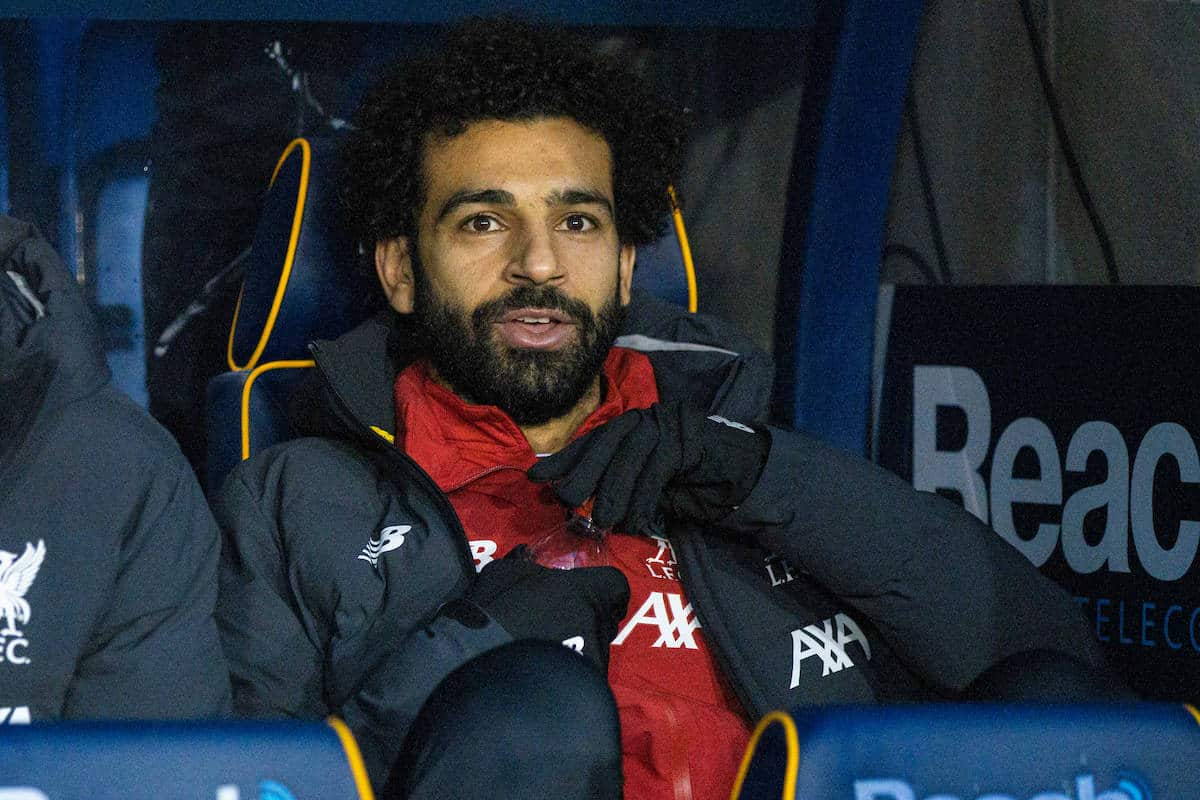 SHREWSBURY, ENGLAND - Sunday, January 26, 2020: Liverpool's substitute Mohamed Salah sits on the bench during the FA Cup 4th Round match between Shrewsbury Town FC and Liverpool FC at the New Meadow. (Pic by David Rawcliffe/Propaganda)