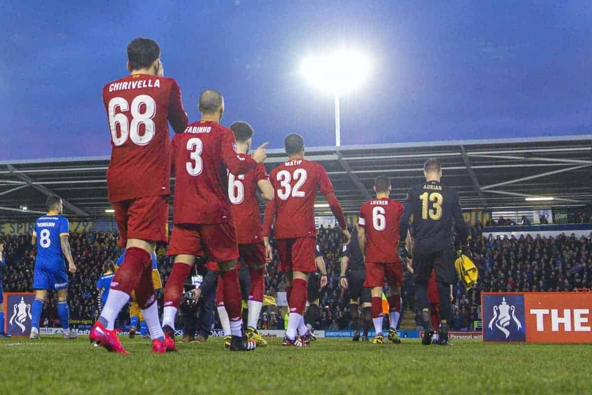 SHREWSBURY, ENGLAND - Sunday, January 26, 2020: Liverpool players walk out before the FA Cup 4th Round match between Shrewsbury Town FC and Liverpool FC at the New Meadow. (Pic by David Rawcliffe/Propaganda)