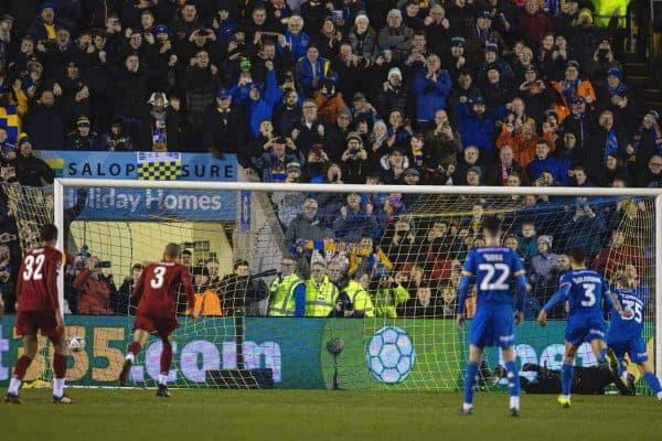 SHREWSBURY, ENGLAND - Sunday, January 26, 2020: Liverpool's goalkeeper Adrián San Miguel del Castillo is beaten as Shrewsbury Town's Jason Cummings scores his side's first goal from a penalty-kick during the FA Cup 4th Round match between Shrewsbury Town FC and Liverpool FC at the New Meadow. (Pic by David Rawcliffe/Propaganda)