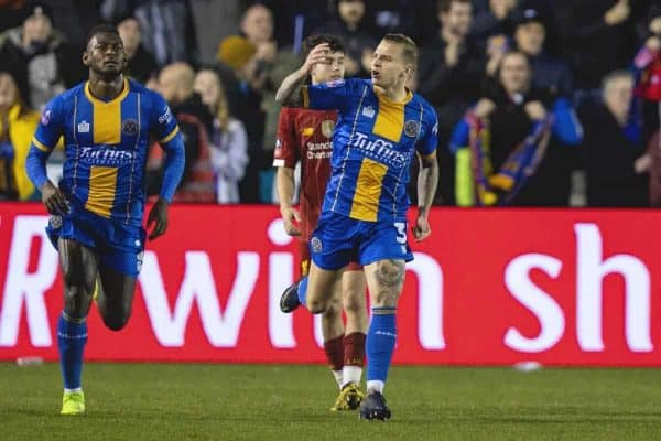 SHREWSBURY, ENGLAND - Sunday, January 26, 2020: Shrewsbury Town's Jason Cummings celebrates after scoring his side's first goal from a penalty-kick during the FA Cup 4th Round match between Shrewsbury Town FC and Liverpool FC at the New Meadow. (Pic by David Rawcliffe/Propaganda)