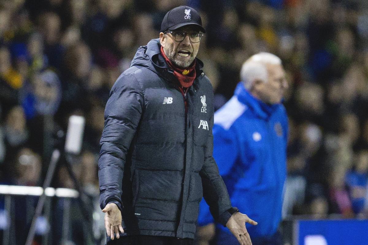 SHREWSBURY, ENGLAND - Sunday, January 26, 2020: Liverpool's manager Jürgen Klopp reacts during the FA Cup 4th Round match between Shrewsbury Town FC and Liverpool FC at the New Meadow. (Pic by David Rawcliffe/Propaganda)