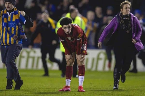 SHREWSBURY, ENGLAND - Sunday, January 26, 2020: Liverpool's Curtis Jones looks dejected as his side draw 2-2 and supporters invade the pitch during the FA Cup 4th Round match between Shrewsbury Town FC and Liverpool FC at the New Meadow. (Pic by David Rawcliffe/Propaganda)