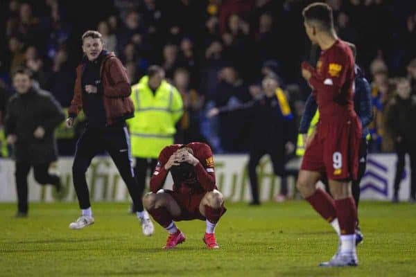 SHREWSBURY, ENGLAND - Sunday, January 26, 2020: Liverpool's Curtis Jones looks dejected as Shrewsbury Town supporters invade the pitch after the FA Cup 4th Round match between Shrewsbury Town FC and Liverpool FC at the New Meadow. The game ended in a 2-2 draw. (Pic by David Rawcliffe/Propaganda)
