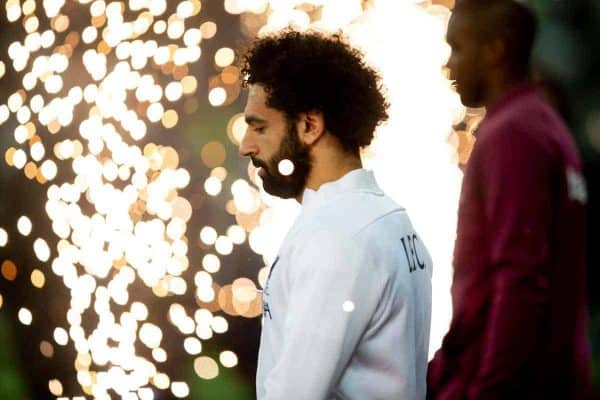 LONDON, ENGLAND - Wednesday, January 29, 2020: Liverpool's Mohamed Salah walks through pyrotechnics before the FA Premier League match between West Ham United FC and Liverpool FC at the London Stadium. (Pic by David Rawcliffe/Propaganda)