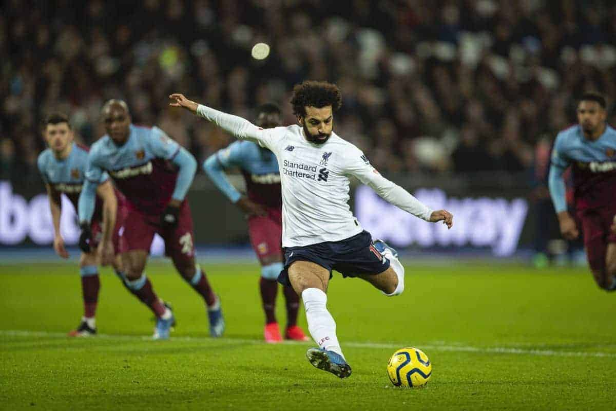 Liverpool's Mohamed Salah scores the first goal from a penalty-kick during the FA Premier League match between West Ham United FC and Liverpool FC at the London Stadium. (Pic by David Rawcliffe/Propaganda)