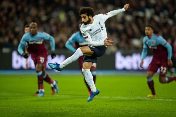LONDON, ENGLAND - Wednesday, January 29, 2020: Liverpool's Mohamed Salah scores the first goal from a penalty-kick during the FA Premier League match between West Ham United FC and Liverpool FC at the London Stadium. (Pic by David Rawcliffe/Propaganda)