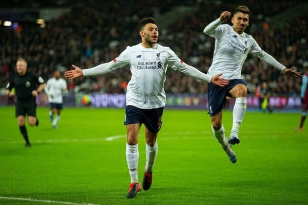 LONDON, ENGLAND - Wednesday, January 29, 2020: Liverpool's Alex Oxlade-Chamberlain celebrates scoring the second goal during the FA Premier League match between West Ham United FC and Liverpool FC at the London Stadium. (Pic by David Rawcliffe/Propaganda)
