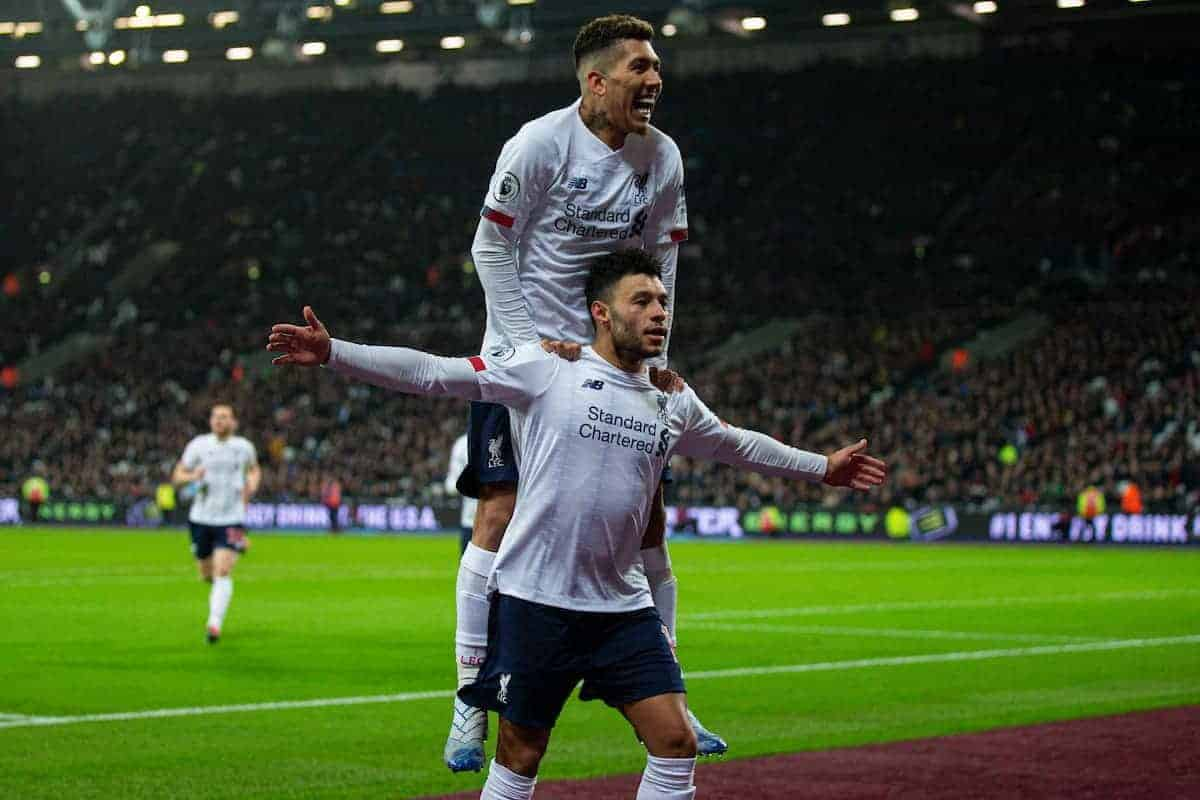 LONDON, ENGLAND - Wednesday, January 29, 2020: Liverpool's Alex Oxlade-Chamberlain celebrates scoring the second goal with team-mate Roberto Firmino (top) during the FA Premier League match between West Ham United FC and Liverpool FC at the London Stadium. (Pic by David Rawcliffe/Propaganda)