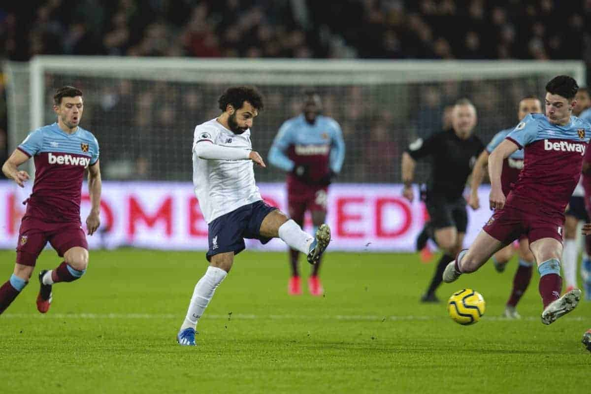 LONDON, ENGLAND - Wednesday, January 29, 2020: Liverpool's Mohamed Salah sets up the second gpal during the FA Premier League match between West Ham United FC and Liverpool FC at the London Stadium. (Pic by David Rawcliffe/Propaganda)