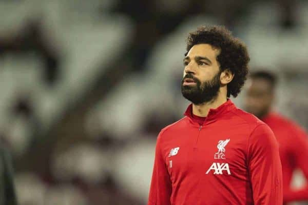 LONDON, ENGLAND - Wednesday, January 29, 2020: Liverpool's Mohamed Salah during the pre-match warm-up before the FA Premier League match between West Ham United FC and Liverpool FC at the London Stadium. (Pic by David Rawcliffe/Propaganda)