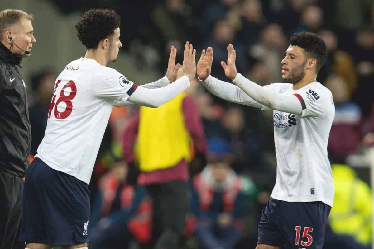 LONDON, ENGLAND - Wednesday, January 29, 2020: Liverpool's Alex Oxlade-Chamberlain is replaced by substitute Curtis Jones during the FA Premier League match between West Ham United FC and Liverpool FC at the London Stadium. (Pic by David Rawcliffe/Propaganda)