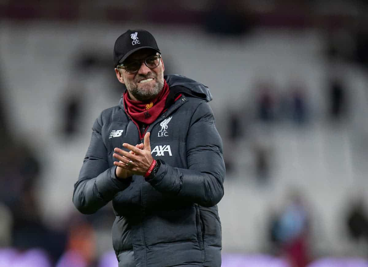 Liverpool's manager Jürgen Klopp celebrates after the FA Premier League match between West Ham United FC and Liverpool FC at the London Stadium. Liverpool won 2-0. (Pic by David Rawcliffe/Propaganda)