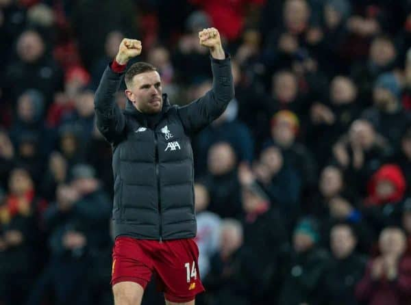 LIVERPOOL, ENGLAND - Saturday, February 1, 2020: Liverpool's captain Jordan Henderson celebrates after the FA Premier League match between Liverpool FC and Southampton FC at Anfield. Liverpool won 4-0. (Pic by David Rawcliffe/Propaganda)