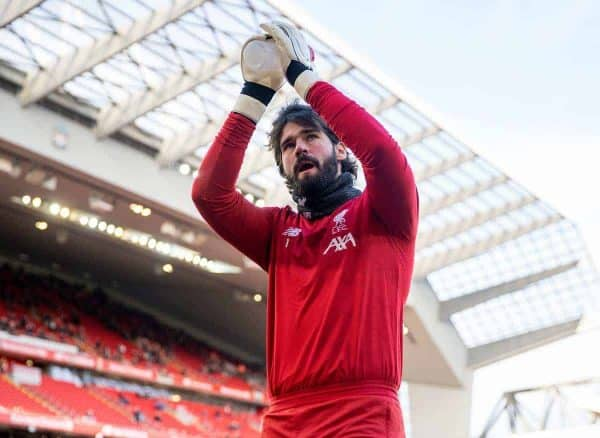 LIVERPOOL, ENGLAND - Saturday, February 1, 2020: Liverpool's goalkeeper Alisson Becker during the pre-match warm-up before the FA Premier League match between Liverpool FC and Southampton FC at Anfield. (Pic by David Rawcliffe/Propaganda)