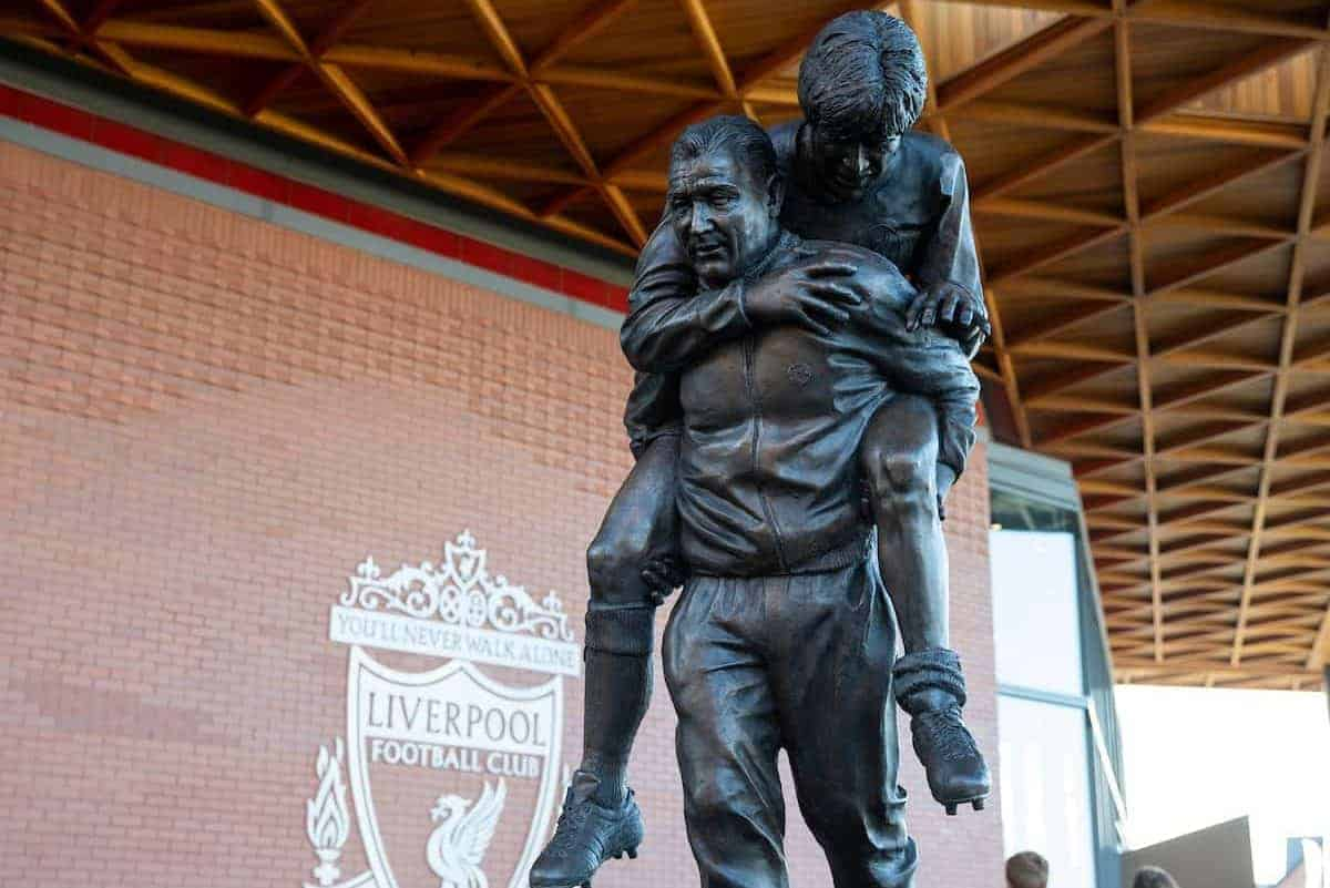LIVERPOOL, ENGLAND - Saturday, February 1, 2020: A new statue of former Liverpool manger Bob Paisley, sculptured from a image of him as a physio carrying Liverpool captain Emlyn Hughes, pictured before the FA Premier League match between Liverpool FC and Southampton FC at Anfield. (Pic by David Rawcliffe/Propaganda)