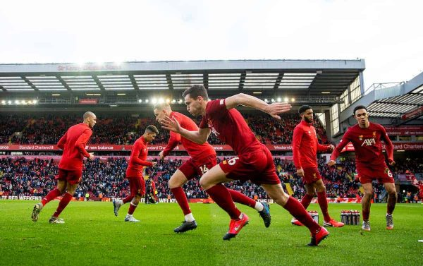 Liverpool's Andy Robertson during the pre-match warm-up before the FA Premier League match between Liverpool FC and Southampton FC at Anfield. (Pic by David Rawcliffe/Propaganda)