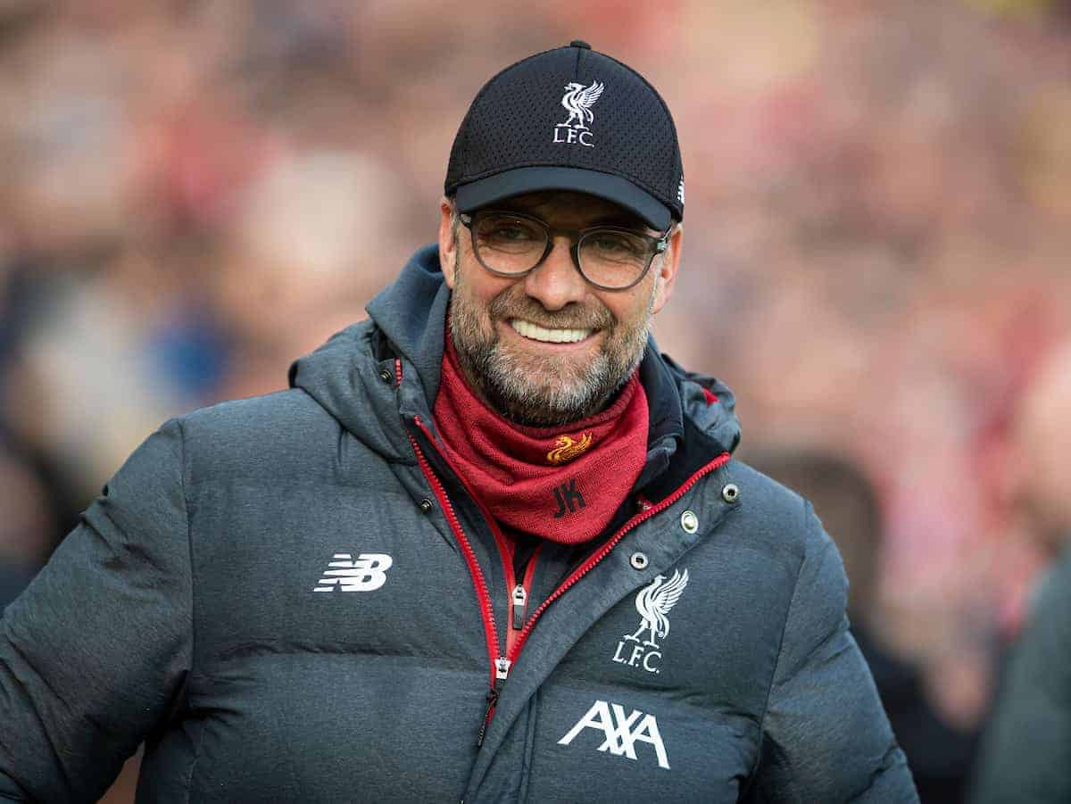 LIVERPOOL, ENGLAND - Saturday, February 1, 2020: Liverpool's manager Jürgen Klopp before the FA Premier League match between Liverpool FC and Southampton FC at Anfield. (Pic by David Rawcliffe/Propaganda)