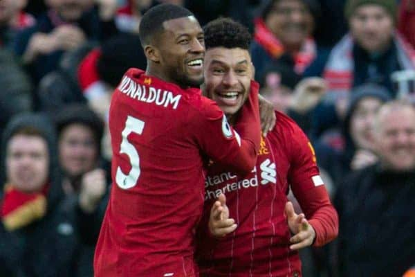 LIVERPOOL, ENGLAND - Saturday, February 1, 2020: Liverpool's Georginio Wijnaldum (L) and Southampton's James Ward-Prowse during the FA Premier League match between Liverpool FC and Southampton FC at Anfield. (Pic by David Rawcliffe/Propaganda)