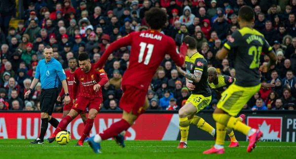LIVERPOOL, ENGLAND - Saturday, February 1, 2020: Liverpool's Alex Oxlade-Chamberlain scores the first goal during the FA Premier League match between Liverpool FC and Southampton FC at Anfield. (Pic by David Rawcliffe/Propaganda)