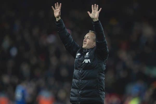 LIVERPOOL, ENGLAND - Tuesday, February 4, 2020: Liverpool's Under-23 manager Neil Critchley celebtates after the FA Cup 4th Round Replay match between Liverpool FC and Shrewsbury Town at Anfield. Liverpool won 1-0. (Pic by David Rawcliffe/Propaganda)